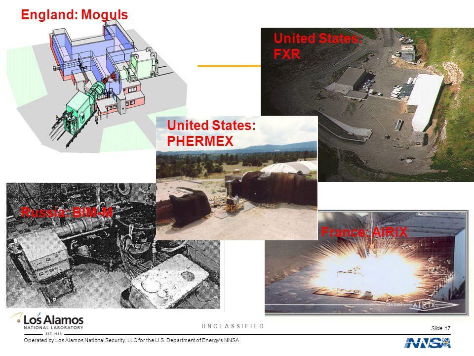 Operated by Los Alamos National Security, LLC for the U.S. Department of Energy's NNSA U N C L A S S I F I E D Slide 17 England: Moguls United States: