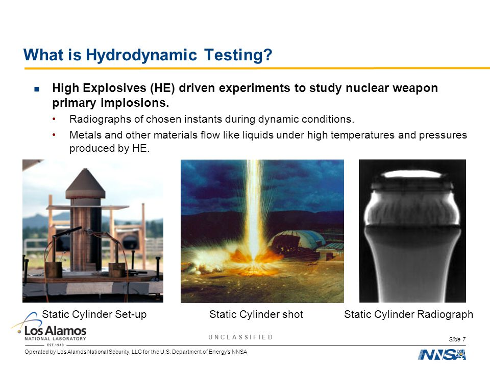Operated by Los Alamos National Security, LLC for the U.S. Department of Energy's NNSA U N C L A S S I F I E D What is Hydrodynamic Testing? High Expl
