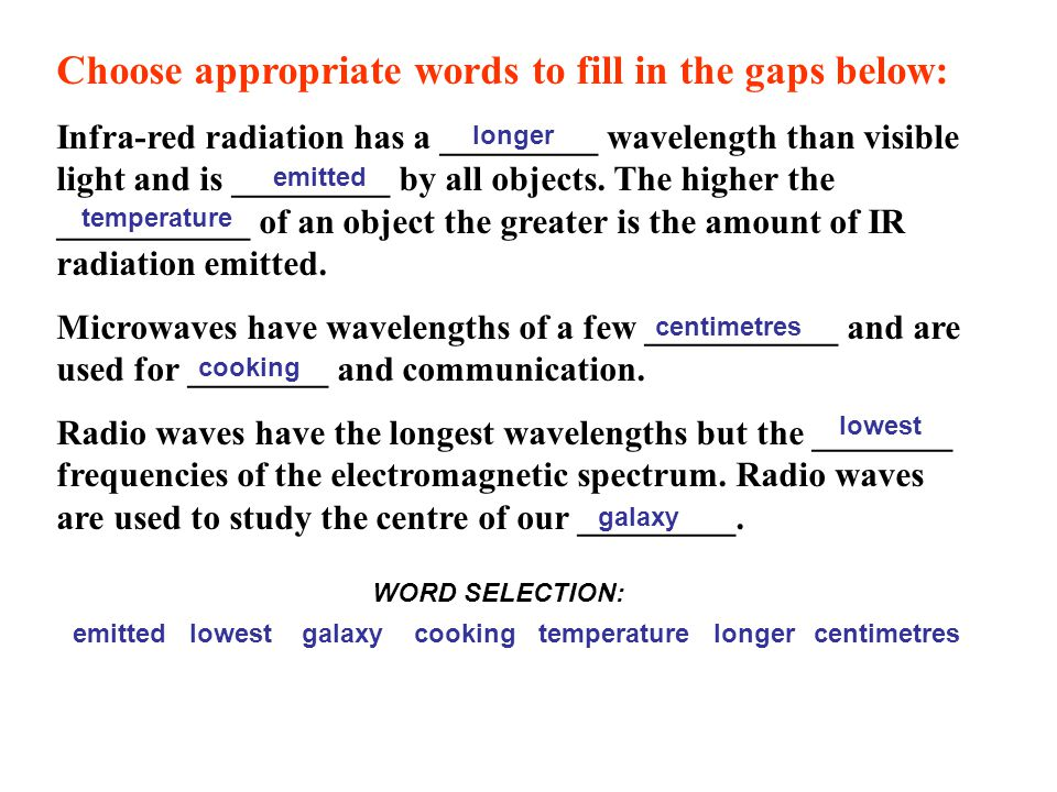 Choose appropriate words to fill in the gaps below: Infra-red radiation has a _________ wavelength than visible light and is _________ by all objects.