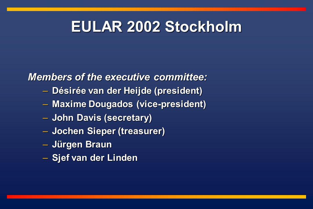 Members of the executive committee: –Désirée van der Heijde (president) –Maxime Dougados (vice-president) –John Davis (secretary) –Jochen Sieper (treasurer) –Jürgen Braun –Sjef van der Linden EULAR 2002 Stockholm