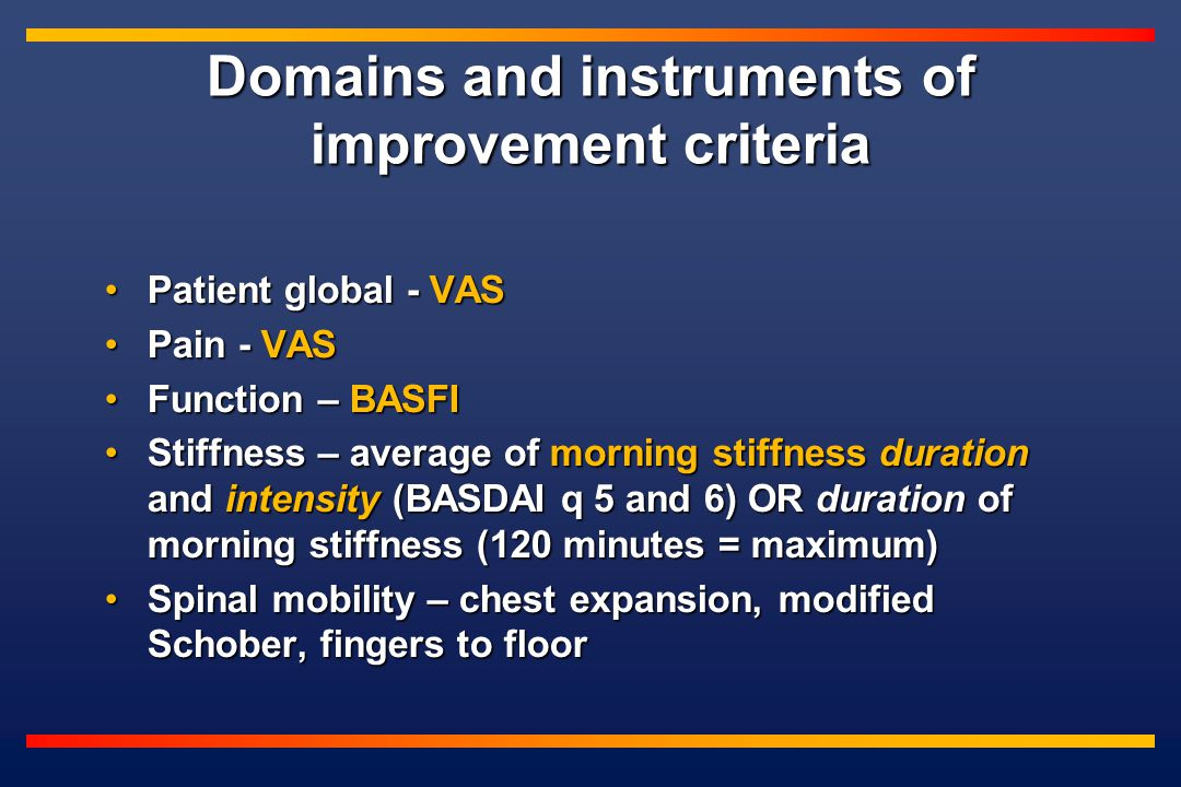 Domains and instruments of improvement criteria Patient global - VASPatient global - VAS Pain - VASPain - VAS Function – BASFIFunction – BASFI Stiffness – average of morning stiffness duration and intensity (BASDAI q 5 and 6) OR duration of morning stiffness (120 minutes = maximum)Stiffness – average of morning stiffness duration and intensity (BASDAI q 5 and 6) OR duration of morning stiffness (120 minutes = maximum) Spinal mobility – chest expansion, modified Schober, fingers to floorSpinal mobility – chest expansion, modified Schober, fingers to floor