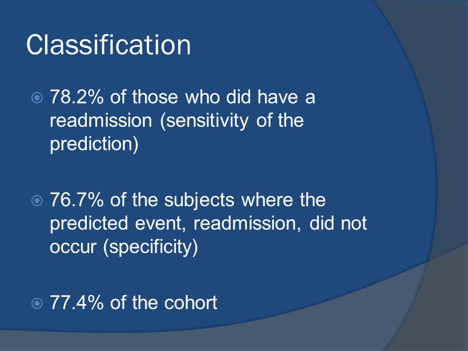 Classification  78.2% of those who did have a readmission (sensitivity of the prediction)  76.7% of the subjects where the predicted event, readmiss