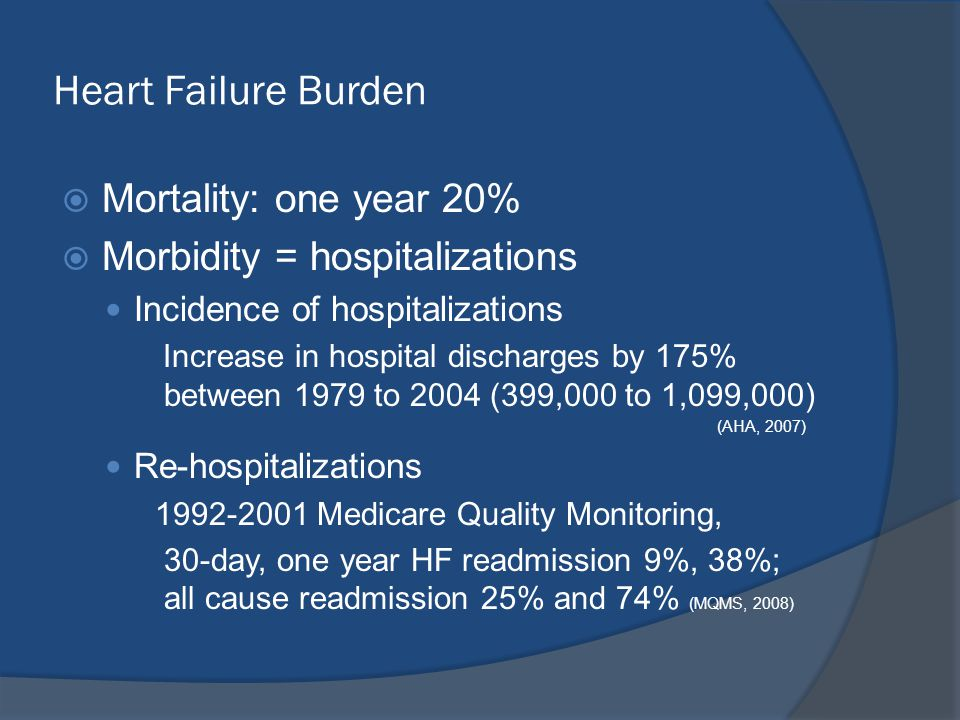Heart Failure Burden  Mortality: one year 20%  Morbidity = hospitalizations Incidence of hospitalizations Increase in hospital discharges by 175% be