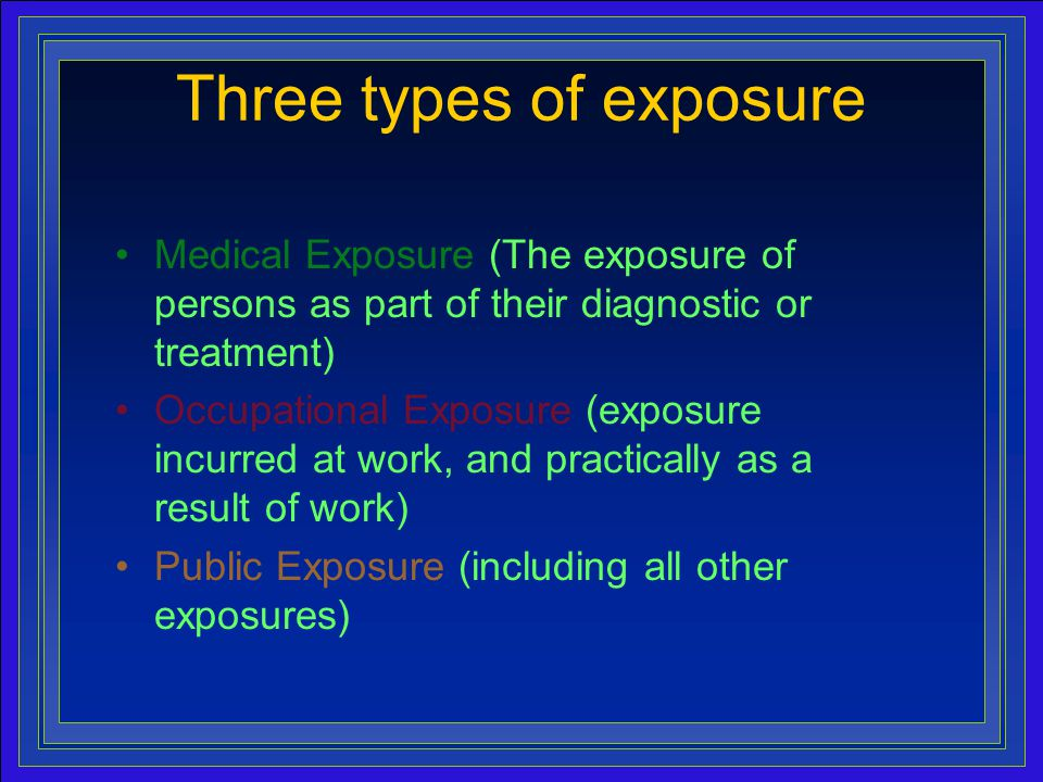 10 Medical Exposure (The exposure of persons as part of their diagnostic or treatment) Occupational Exposure (exposure incurred at work, and practically as a result of work) Public Exposure (including all other exposures) Three types of exposure