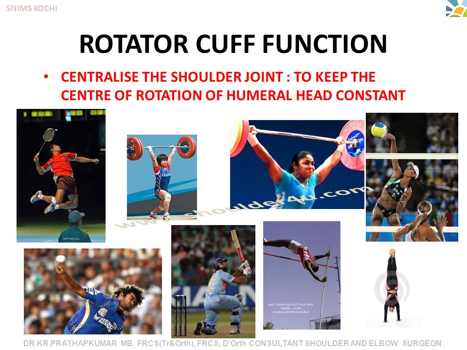 DR.KR.PRATHAPKUMAR MB, FRCS(Tr&Orth), FRCS, D'Orth CONSULTANT SHOULDER AND ELBOW SURGEON SNIMS KOCHI ROTATOR CUFF FUNCTION CENTRALISE THE SHOULDER JOINT : TO KEEP THE CENTRE OF ROTATION OF HUMERAL HEAD CONSTANT