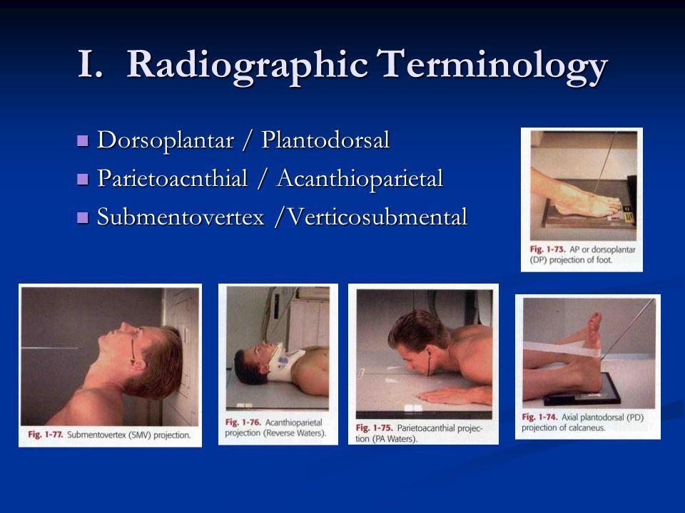 I. Radiographic Terminology Dorsoplantar / Plantodorsal Dorsoplantar / Plantodorsal Parietoacnthial / Acanthioparietal Parietoacnthial / Acanthioparie