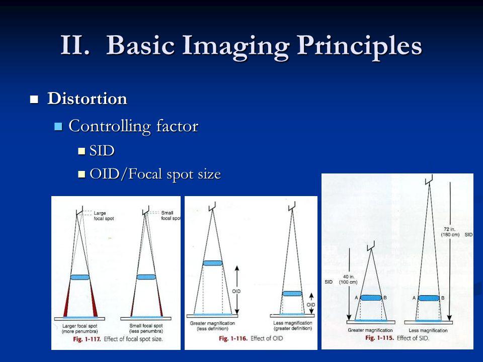 II. Basic Imaging Principles Distortion Distortion Controlling factor Controlling factor SID SID OID/Focal spot size OID/Focal spot size