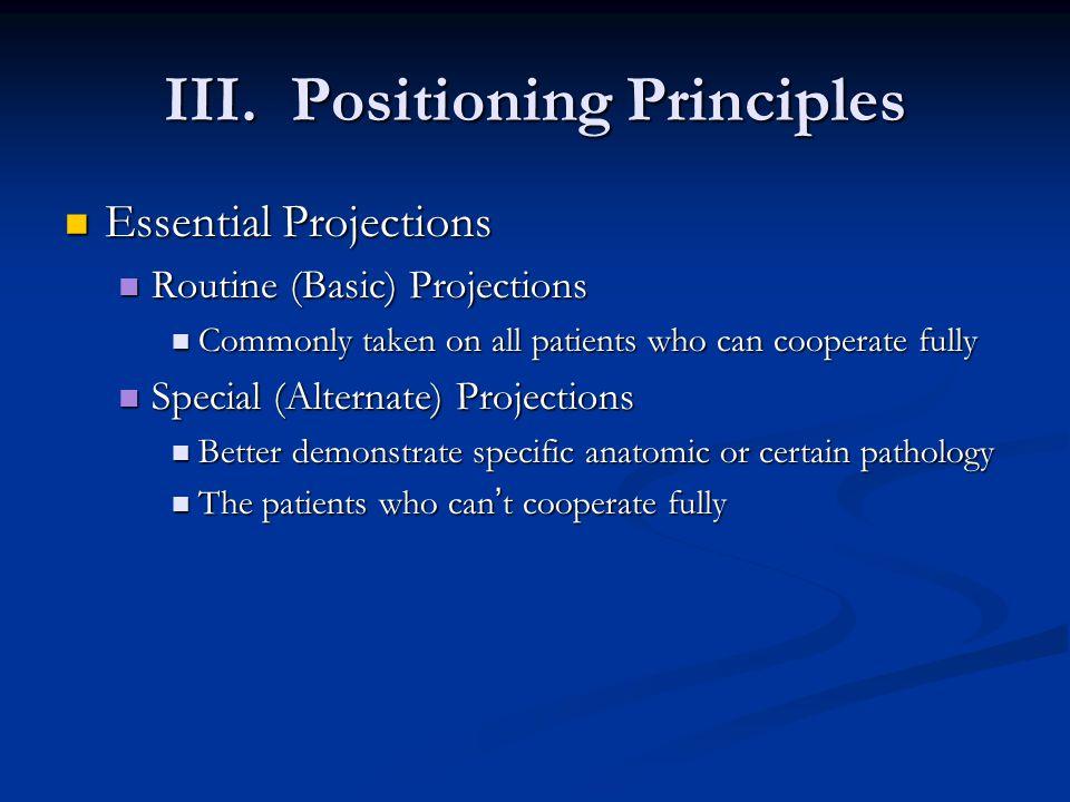 III. Positioning Principles Essential Projections Essential Projections Routine (Basic) Projections Routine (Basic) Projections Commonly taken on all