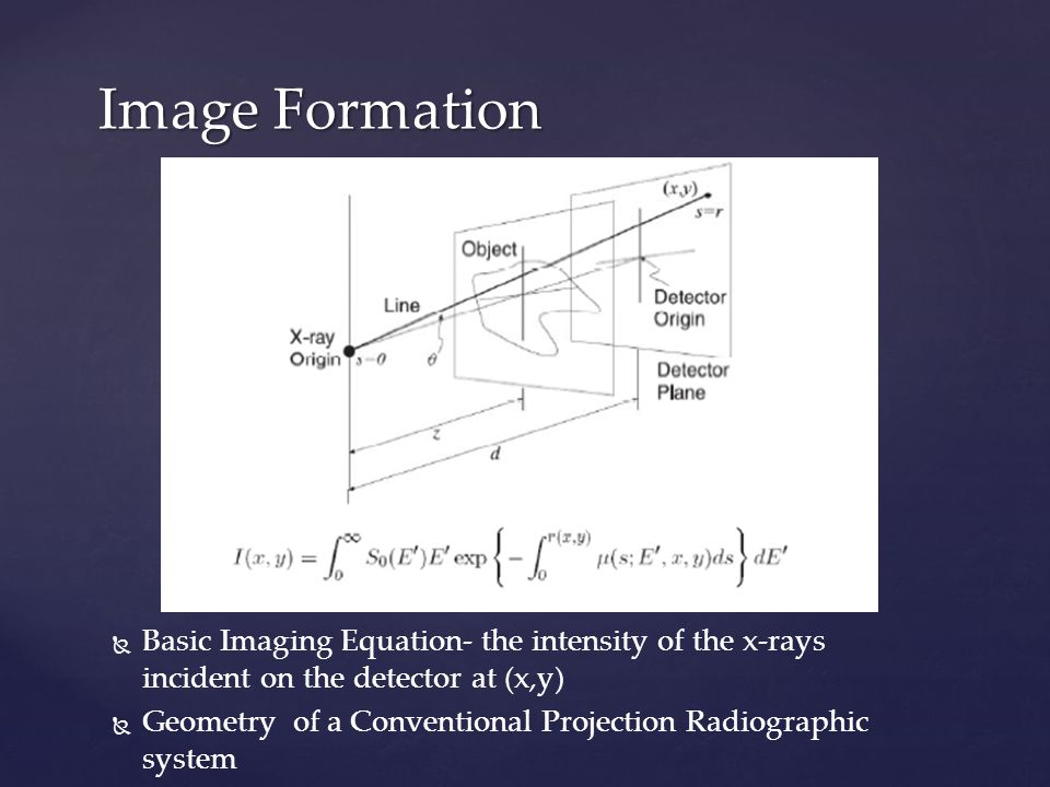   Basic Imaging Equation- the intensity of the x-rays incident on the detector at (x,y)   Geometry of a Conventional Projection Radiographic system Image Formation