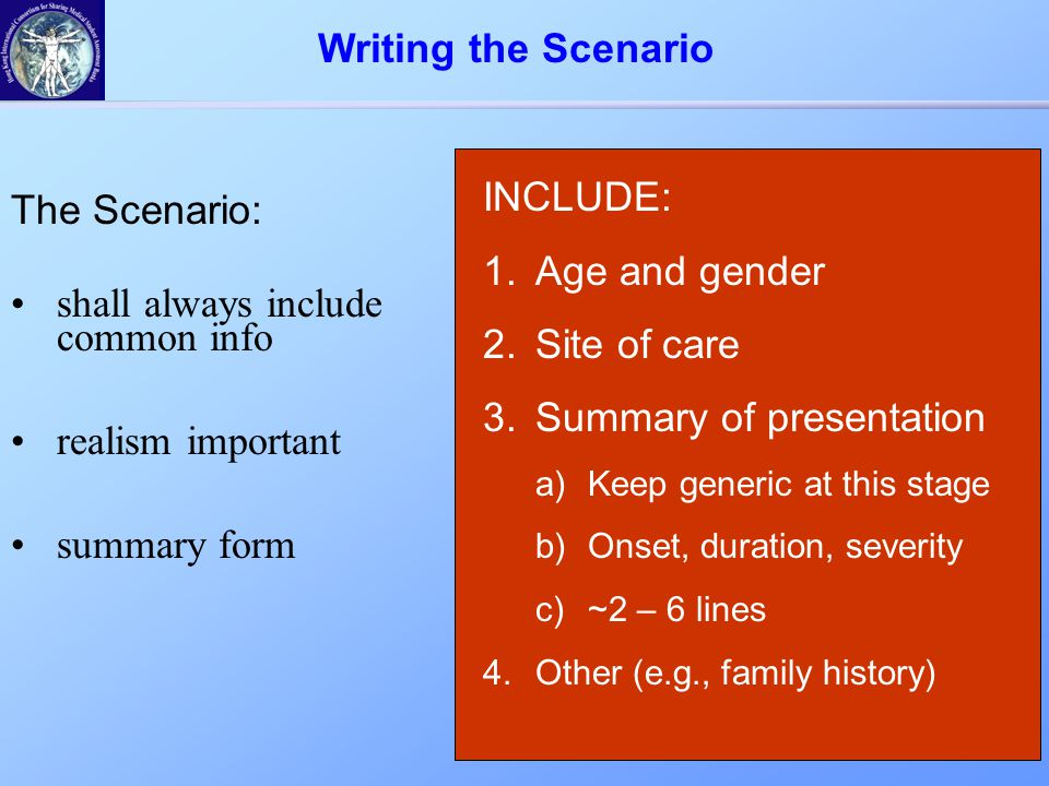 INCLUDE: 1.Age and gender 2.Site of care 3.Summary of presentation a)Keep generic at this stage b)Onset, duration, severity c)~2 – 6 lines 4.Other (e.