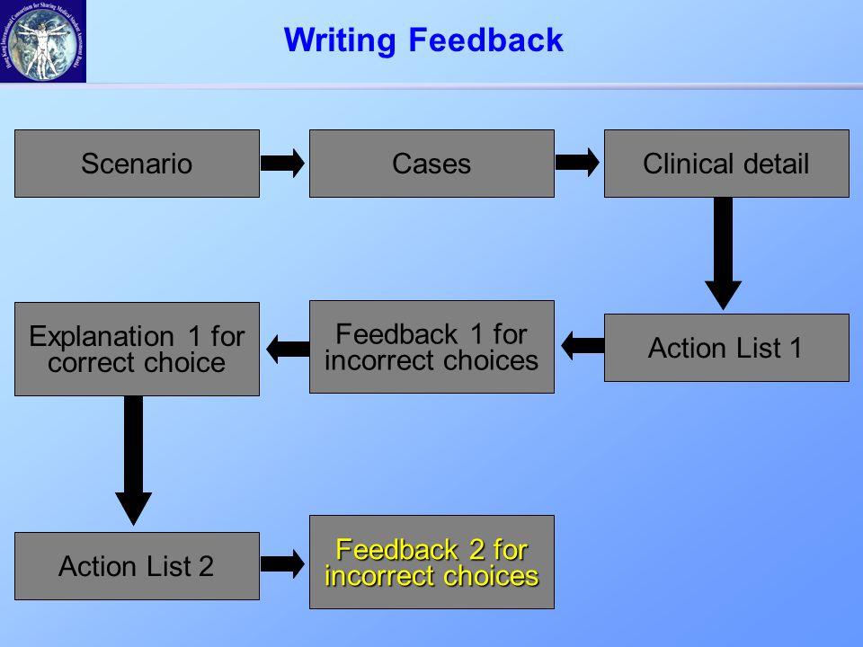 ScenarioCasesClinical detail Action List 1 Feedback 1 for incorrect choices Writing Feedback Explanation 1 for correct choice Action List 2 Feedback 2