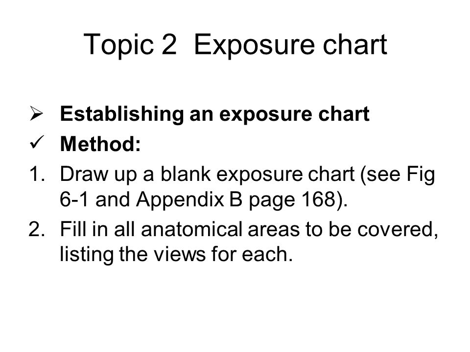 Topic 2 Exposure chart  Establishing an exposure chart Method: 1.Draw up a blank exposure chart (see Fig 6-1 and Appendix B page 168).