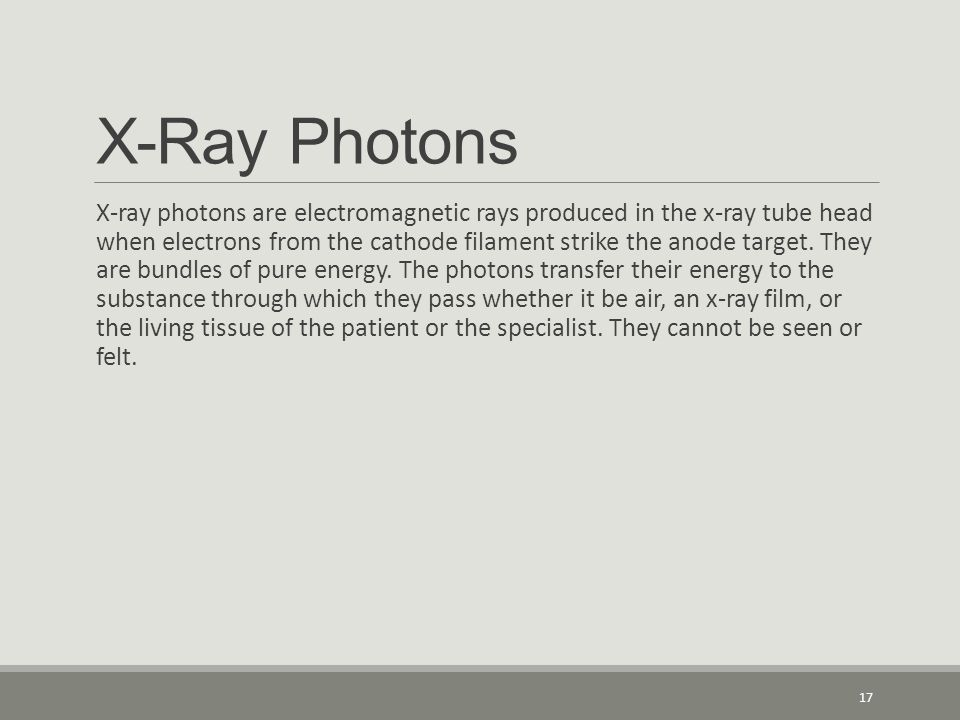 X-Ray Photons X-ray photons are electromagnetic rays produced in the x-ray tube head when electrons from the cathode filament strike the anode target.