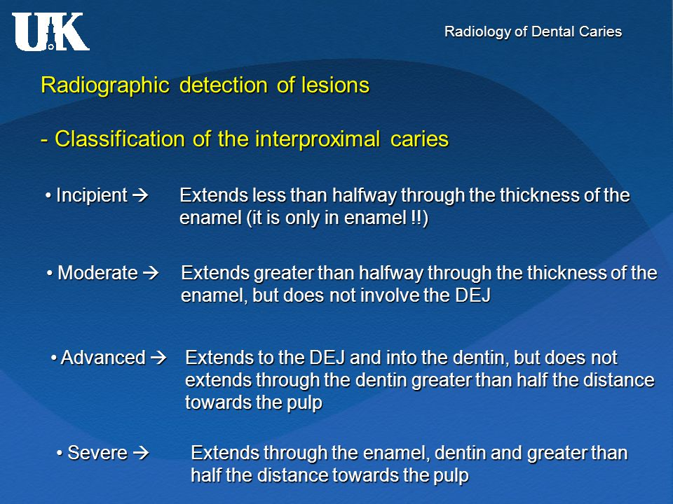 Radiographic detection of lesions - Classification of the interproximal caries Incipient  Extends less than halfway through the thickness of the Inci