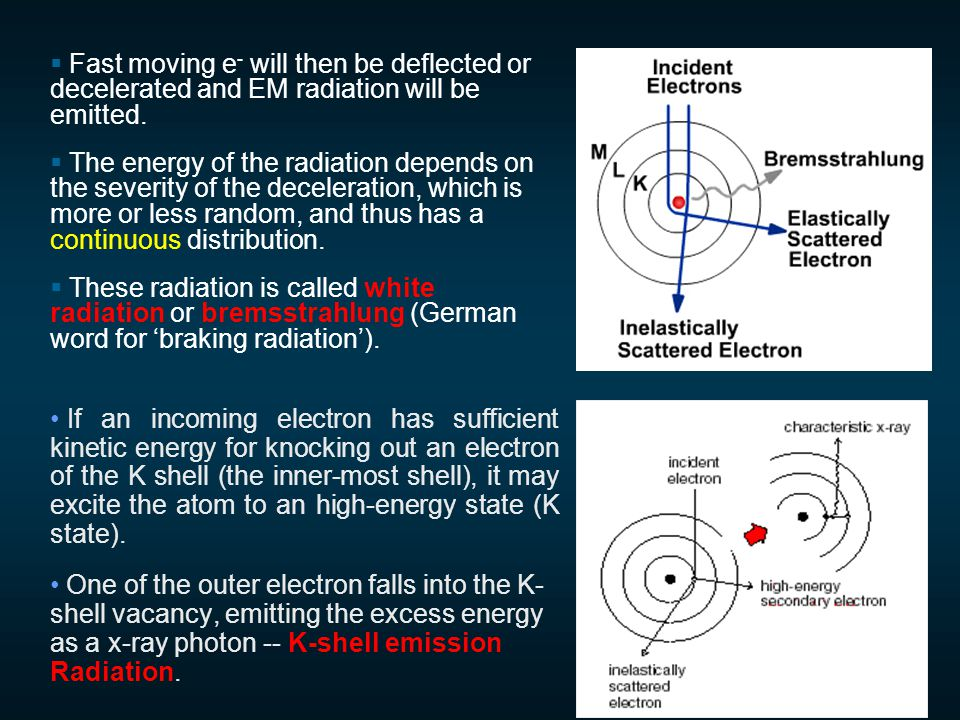  Fast moving e - will then be deflected or decelerated and EM radiation will be emitted.