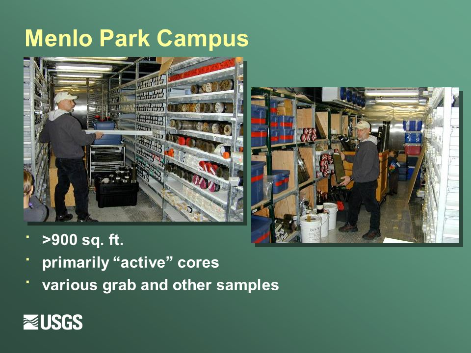 Menlo Park Campus · >900 sq. ft. · primarily active cores · various grab and other samples