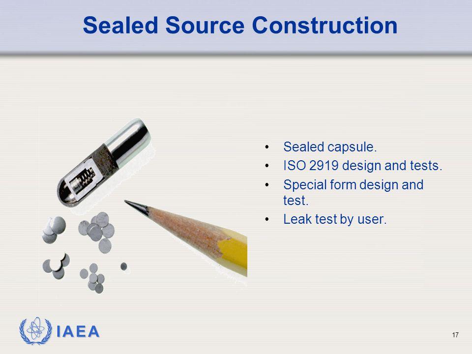 IAEA 17 Sealed Source Construction Sealed capsule.