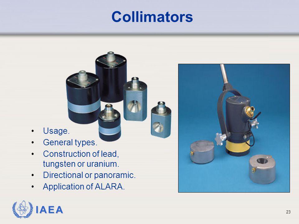 IAEA 23 Usage.General types. Construction of lead, tungsten or uranium.