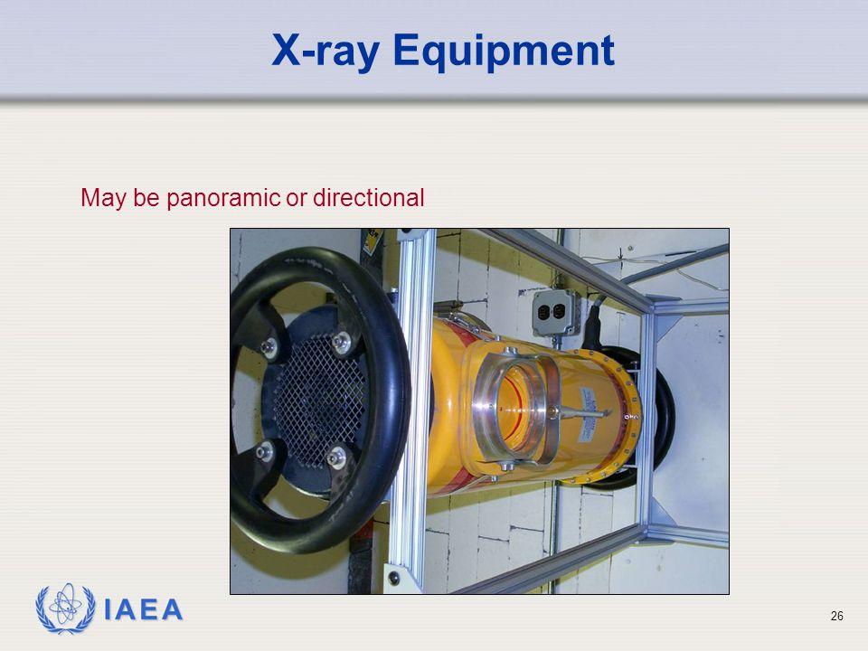 IAEA 26 X-ray Equipment May be panoramic or directional