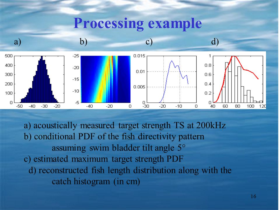 16 Processing example a) acoustically measured target strength TS at 200kHz b) conditional PDF of the fish directivity pattern assuming swim bladder tilt angle 5  c) estimated maximum target strength PDF d) reconstructed fish length distribution along with the catch histogram (in cm) a) b) c) d)