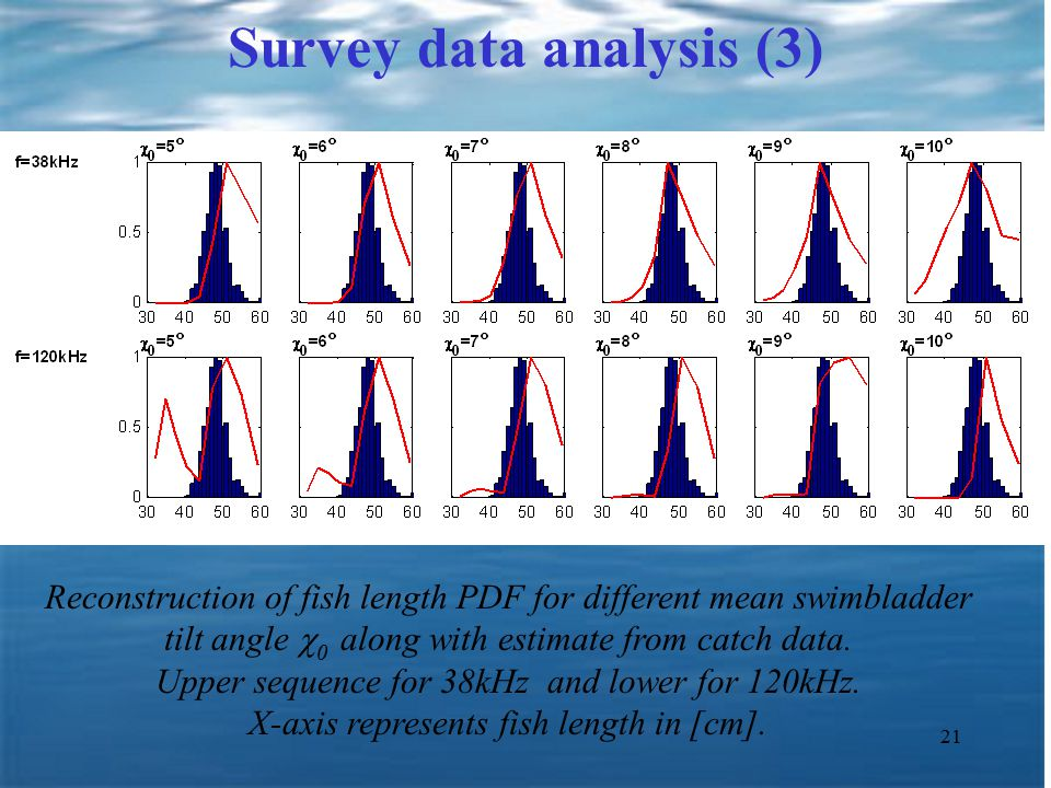 21 Survey data analysis (3) Reconstruction of fish length PDF for different mean swimbladder tilt angle  0 along with estimate from catch data.