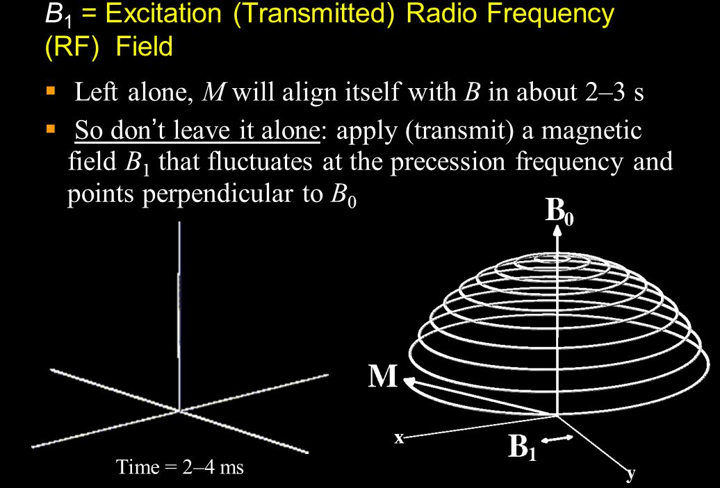  The effect of the tiny B 1 is to cause M to spiral away from the direction of the static B field  B 1  10 –4 Tesla  This is called resonance  If
