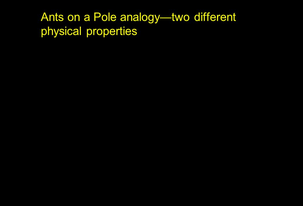 Ants on a Pole analogy—two different physical properties