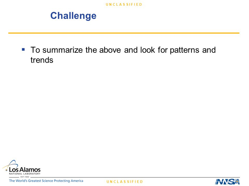U N C L A S S I F I E D Challenge  To summarize the above and look for patterns and trends