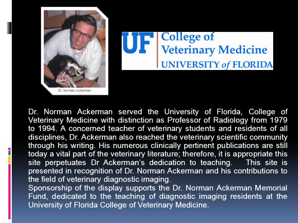 Dr. Norman Ackerman served the University of Florida, College of Veterinary Medicine with distinction as Professor of Radiology from 1979 to 1994. A c