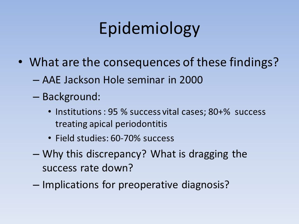 Epidemiology What are the consequences of these findings? – AAE Jackson Hole seminar in 2000 – Background: Institutions : 95 % success vital cases; 80
