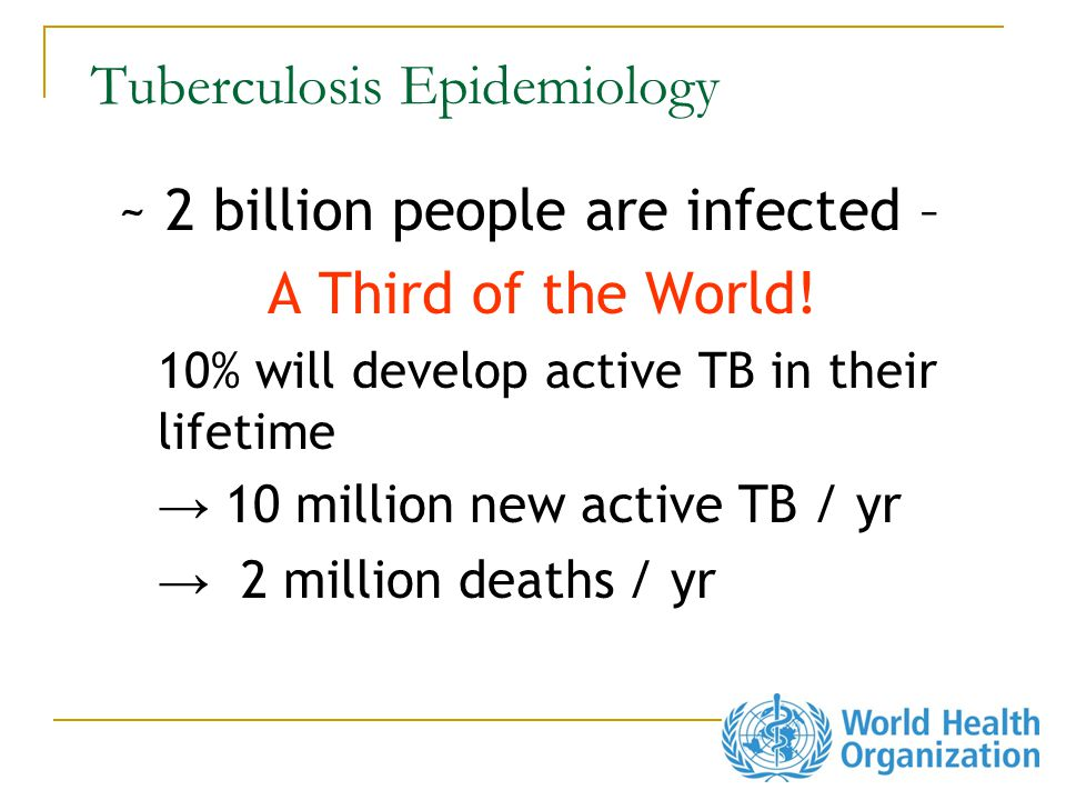 Tuberculosis Epidemiology ~ 2 billion people are infected – A Third of the World.