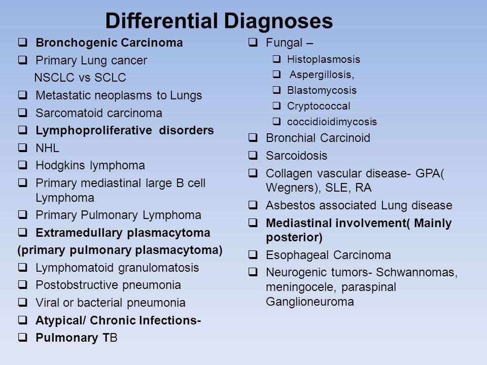 Differential Diagnoses  Bronchogenic Carcinoma  Primary Lung cancer NSCLC vs SCLC  Metastatic neoplasms to Lungs  Sarcomatoid carcinoma  Lymphoproliferative disorders  NHL  Hodgkins lymphoma  Primary mediastinal large B cell Lymphoma  Primary Pulmonary Lymphoma  Extramedullary plasmacytoma (primary pulmonary plasmacytoma)  Lymphomatoid granulomatosis  Postobstructive pneumonia  Viral or bacterial pneumonia  Atypical/ Chronic Infections-  Pulmonary TB  Fungal –  Histoplasmosis  Aspergillosis,  Blastomycosis  Cryptococcal  coccidioidimycosis  Bronchial Carcinoid  Sarcoidosis  Collagen vascular disease- GPA( Wegners), SLE, RA  Asbestos associated Lung disease  Mediastinal involvement( Mainly posterior)  Esophageal Carcinoma  Neurogenic tumors- Schwannomas, meningocele, paraspinal Ganglioneuroma