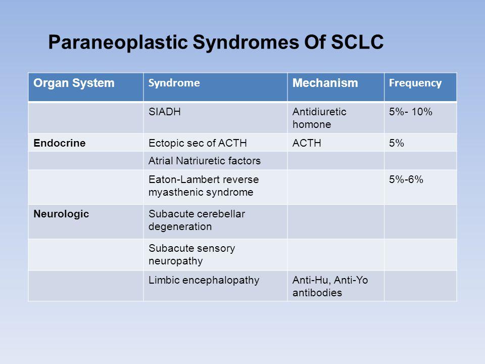 Paraneoplastic Syndromes Of SCLC Organ System Syndrome Mechanism Frequency SIADHAntidiuretic homone 5%- 10% EndocrineEctopic sec of ACTHACTH5% Atrial Natriuretic factors Eaton-Lambert reverse myasthenic syndrome 5%-6% NeurologicSubacute cerebellar degeneration Subacute sensory neuropathy Limbic encephalopathyAnti-Hu, Anti-Yo antibodies