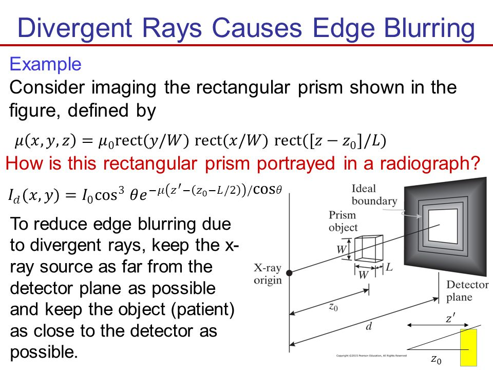 Divergent Rays Causes Edge Blurring Example Consider imaging the rectangular prism shown in the figure, defined by To reduce edge blurring due to dive