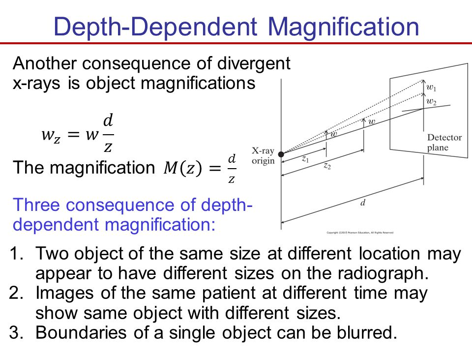Depth-Dependent Magnification Another consequence of divergent x-rays is object magnifications Three consequence of depth- dependent magnification: 1.
