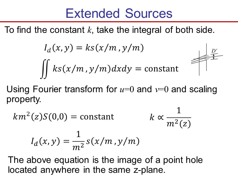 Extended Sources To find the constant k, take the integral of both side. Using Fourier transform for u=0 and v=0 and scaling property. The above equat