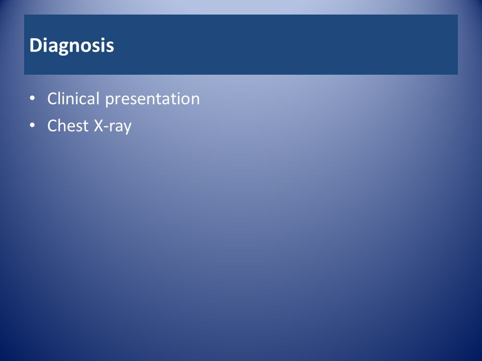 Diagnosis Clinical presentation Chest X-ray