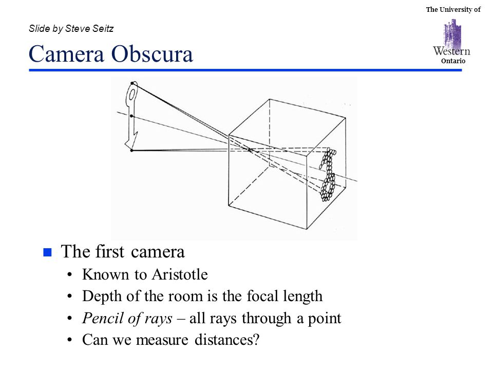 The University of Ontario Slide by Steve Seitz Camera Obscura n The first camera Known to Aristotle Depth of the room is the focal length Pencil of ra