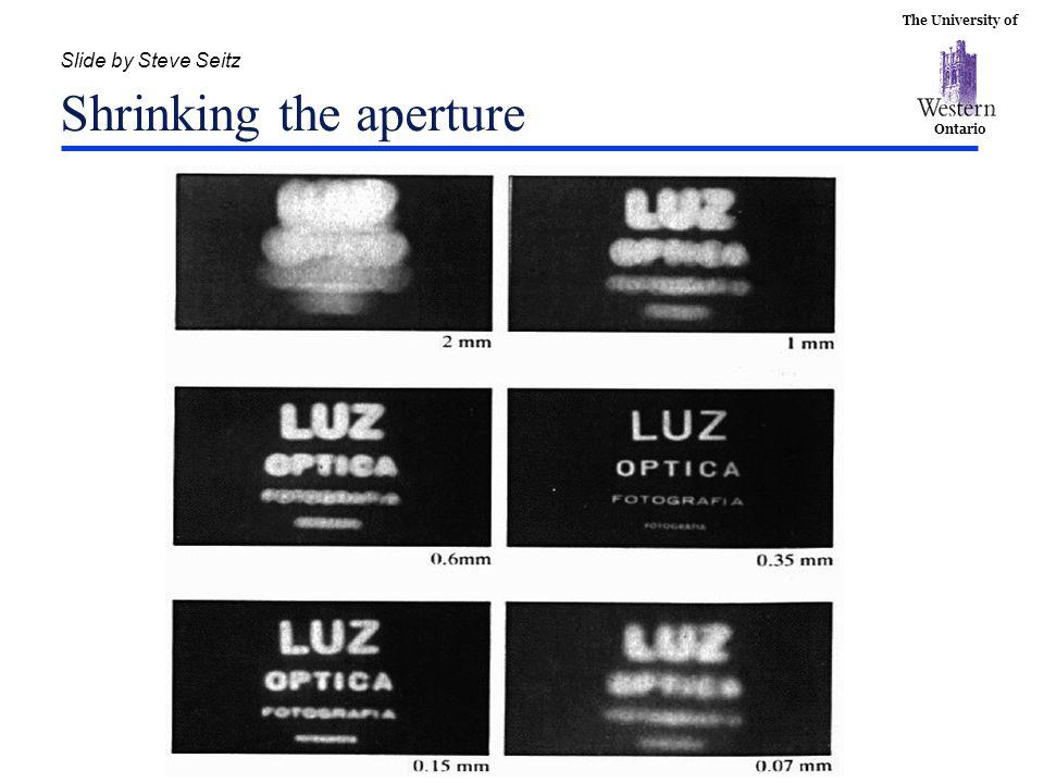 The University of Ontario Slide by Steve Seitz Shrinking the aperture