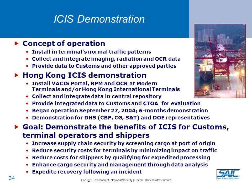 Energy   Environment   National Security   Health   Critical Infrastructure ICIS Demonstration 34  Concept of operation Install in terminal's normal