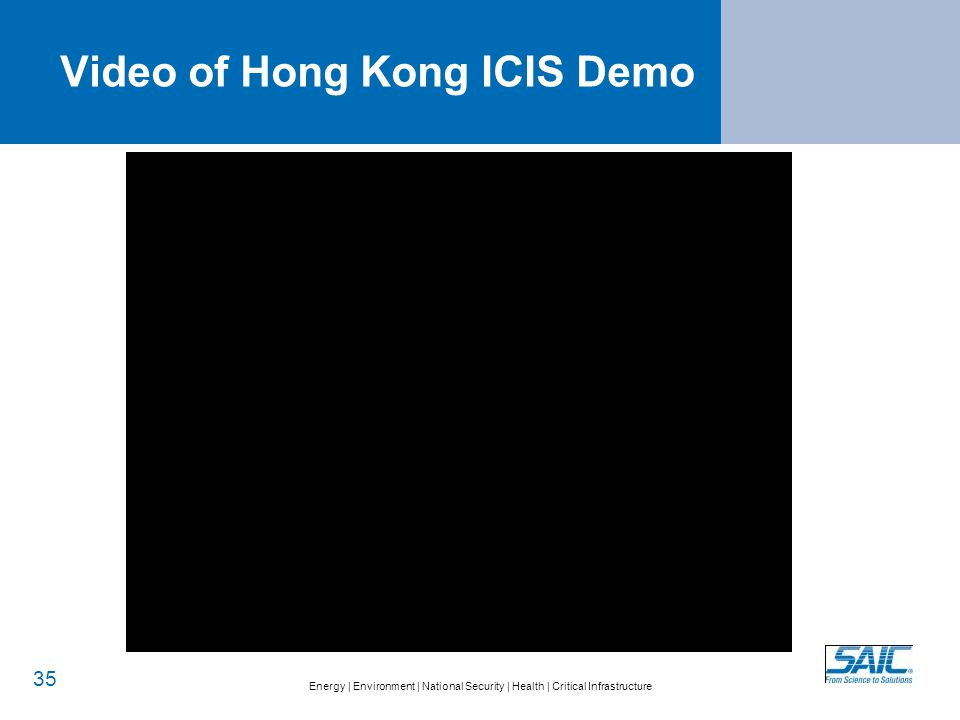 Energy   Environment   National Security   Health   Critical Infrastructure Video of Hong Kong ICIS Demo 35