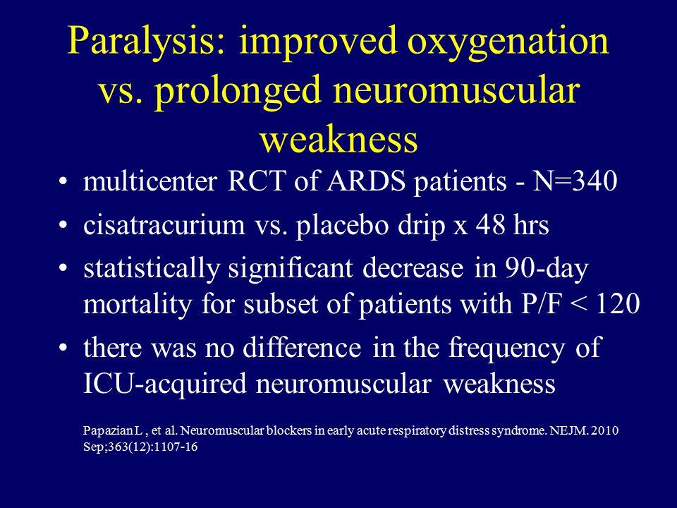 Paralysis: improved oxygenation vs.