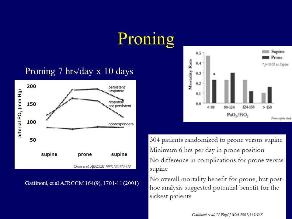 Proning Proning 7 hrs/day x 10 days Gattinoni, et al AJRCCM 164(9), 1701-11 (2001)
