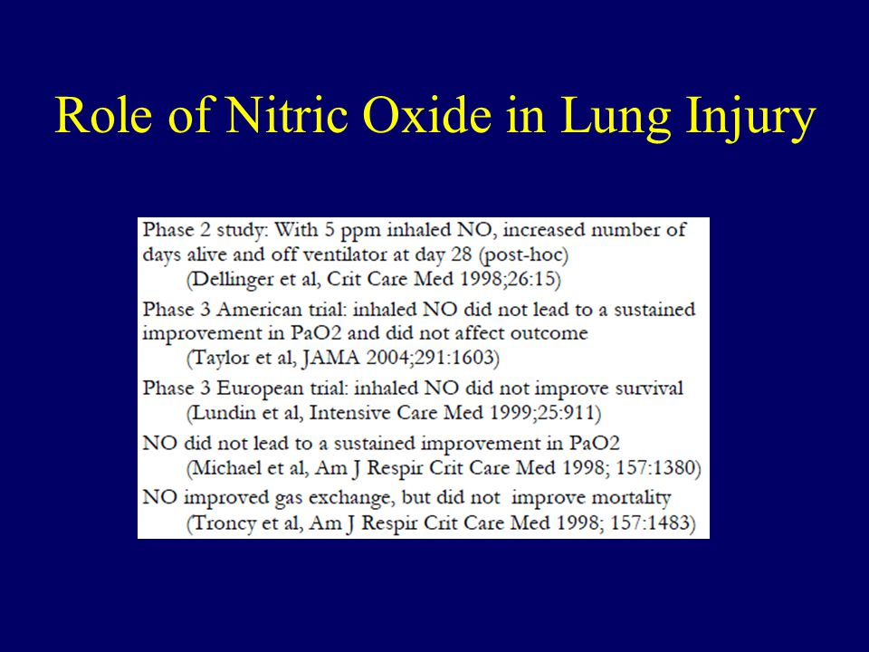Role of Nitric Oxide in Lung Injury