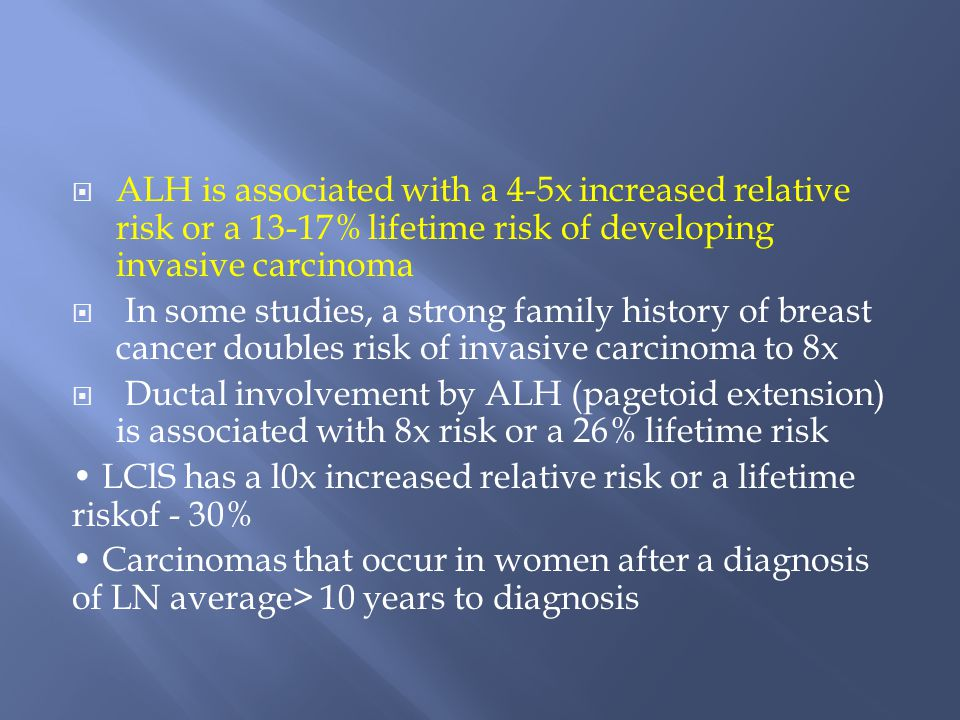  ALH is associated with a 4-5x increased relative risk or a 13-17% lifetime risk of developing invasive carcinoma  In some studies, a strong family