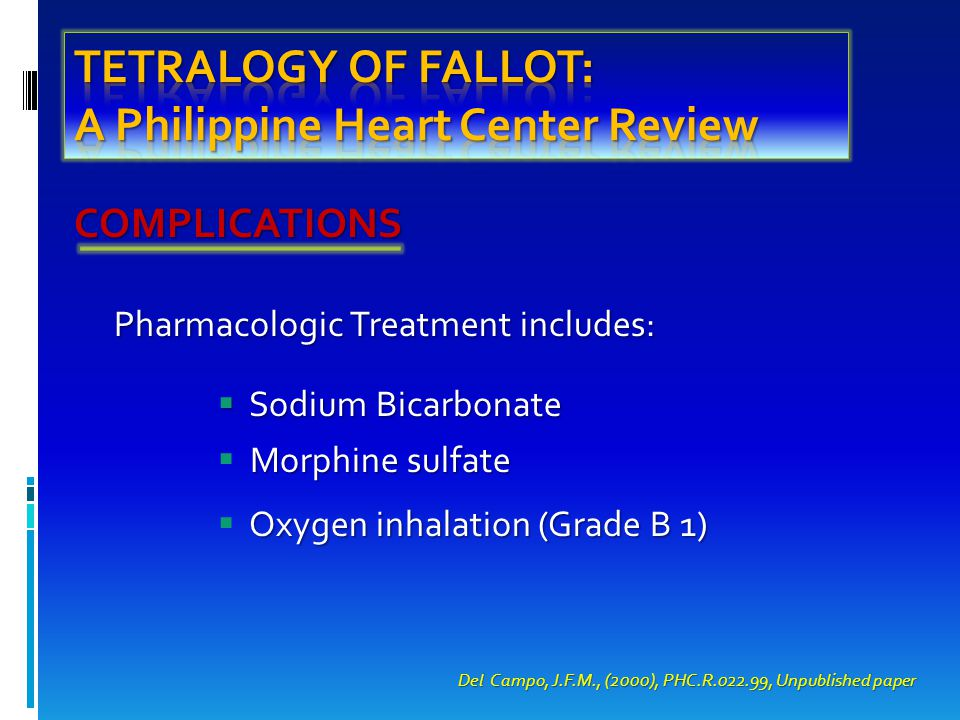 COMPLICATIONS Pharmacologic Treatment includes:  Sodium Bicarbonate Morphine sulfate  Morphine sulfate Oxygen inhalation (Grade B 1)  Oxygen inhalation (Grade B 1) Del Campo, J.F.M., (2000), PHC.R.022.99, Unpublished paper