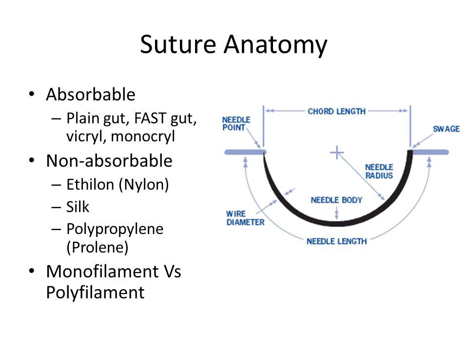 Suture Anatomy Absorbable – Plain gut, FAST gut, vicryl, monocryl Non-absorbable – Ethilon (Nylon) – Silk – Polypropylene (Prolene) Monofilament Vs Polyfilament