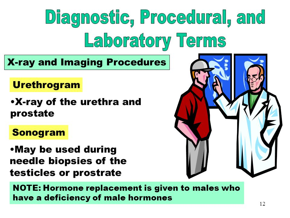11 Male Examination Digital rectal exam (DRE) checks for rectal and prostate abnormalities Prostate-specific antigen (PSA) is a blood test to screen f