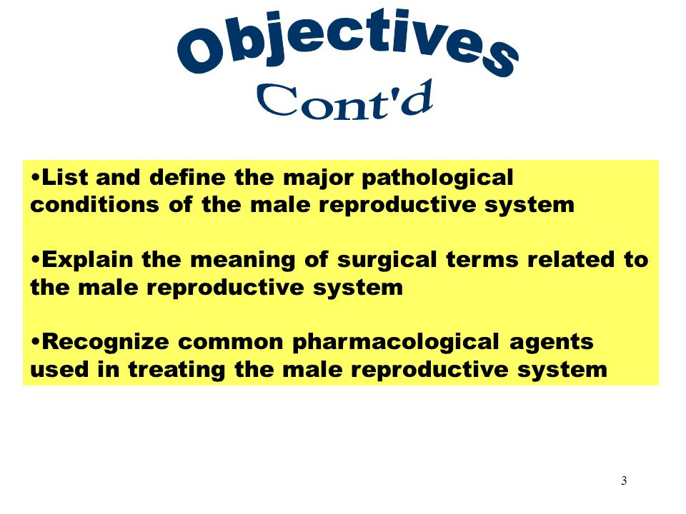 3 Objectives Part 2 List and define the major pathological conditions of the male reproductive system Explain the meaning of surgical terms related to the male reproductive system Recognize common pharmacological agents used in treating the male reproductive system