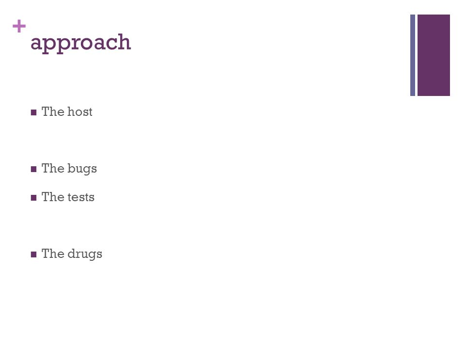 + approach The host The bugs The tests The drugs